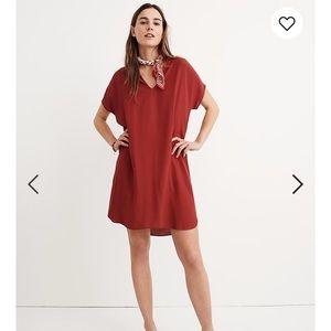 Madewell Bicoastal Dress in Crimson